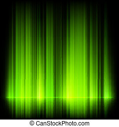Green northern lights, aurora borealis. EPS 10 vector file...