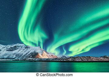 Green northern lights in Lofoten islands, Norway. Aurora borealis