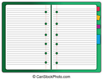 Green notebook blank with memo note