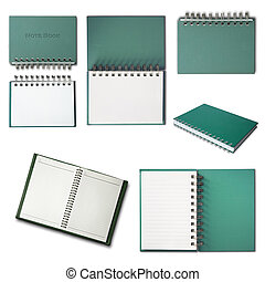 Green Notebook collection isolated on white background