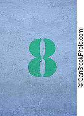 Number eight - Green Number eight on gray