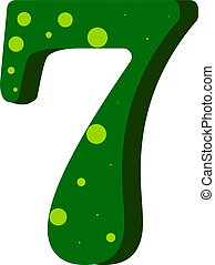 Green number seven with yellow dots, illustration, vector on white background.