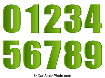 Green numbers. - Coloured numbers on a white background. ...