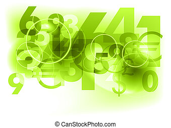 green numbers - green background with abstract numbers