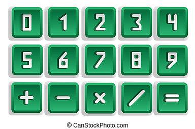 Green Numeric Button Set