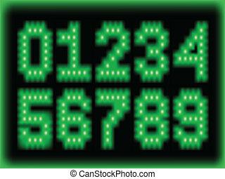 green numner - set of mumber in digital green light style