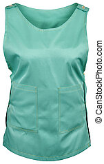 Green nurse apron with pockets isolated on white background