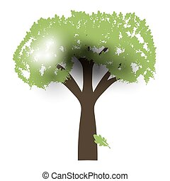 Green Oak Silhouette of a tree, Vector.