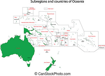 Green Oceania map - Oceania map with countries and capital...