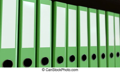 Green office binders. Seamless loop 4K animation