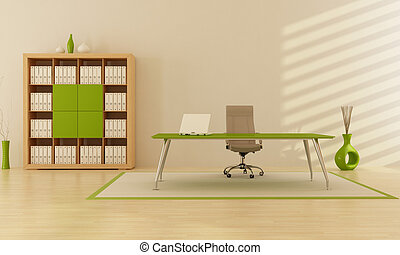green office - modern minimalist green office - rendering