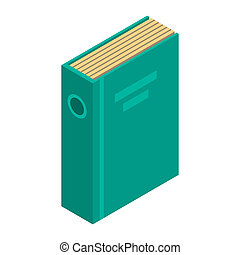 Green office folder icon, isometric style
