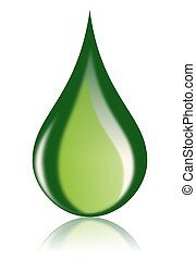 This illustration features an isolated icon of a clean, shiny green oil drop. This icon is perfect for illustrating ecology and green energy concepts particularly those in the alternative energy sector, specializing in bio, environmentally friendly petrol or diesel fuel.
