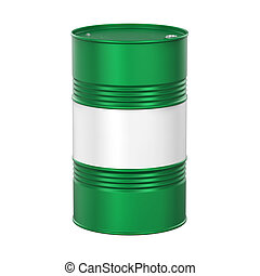 Green Oil Drum isolated on white background. 3D render
