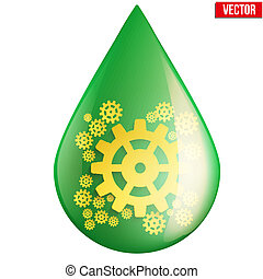 green oil industry drop symbol with gears cogs