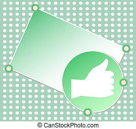 Green OK hand sign blank vector card