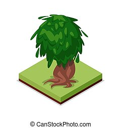 Green old oak isometric 3D icon