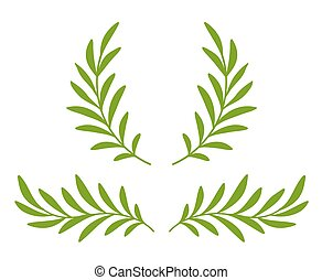 green olive branches with leaves and wreath