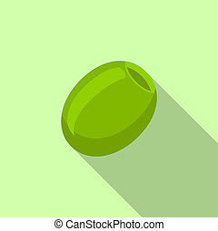 Green olive icon, flat style