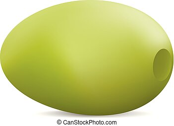Green olive icon, realistic style