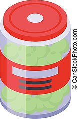 Green olive jar icon, isometric style