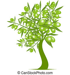 Green olive tree isolated on white background
