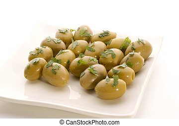 green olive with some oil and parsley