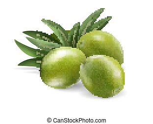 Green olives and leaves isolated on transparent background. Photo-realistic vector, 3d