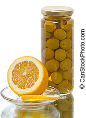 Green olives and lemon