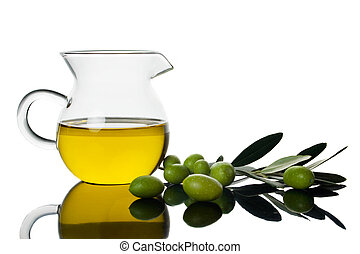 Green olives and olive oil - Green olives and extra virgin...