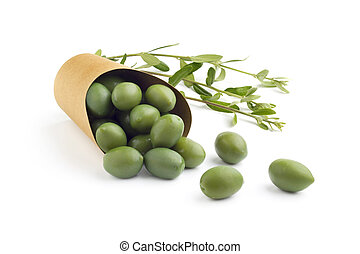 green olives in a bag on white background