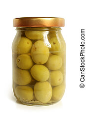 Green olives in glass jar