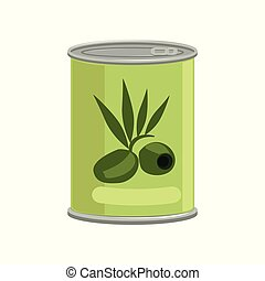 Green olives in metallic can with brand label. Concept of canned food. Tinned goods. Isolated flat vector element for advertising placard or banner