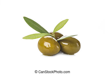 Green olives with leaves isolated on white - Green olives...