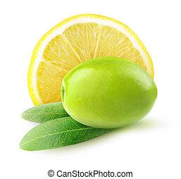 Green olives with lemon