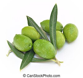 Green olives with olive leaves