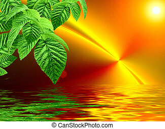 Green on a orange fractal background with sun reflected in water