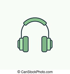 Green On-Ear Headphones vector icon or logo element