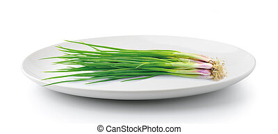 green onions in plate isolated on a white background