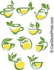 Stylized icons of herbal or green tea cups with lemon for beverage and cafe menu design