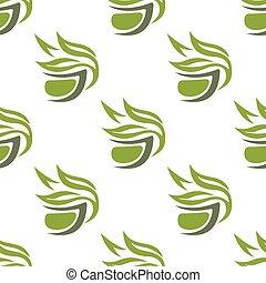 Green or herbal tea cups seamless pattern