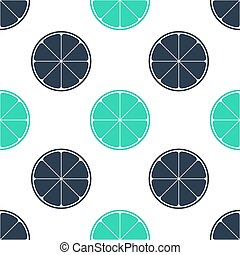 Green Orange in a cut. Citrus fruit icon isolated seamless pattern on white background. Healthy lifestyle. Vector