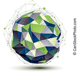 Green orbed complicated network figure constructed from colorful triangles, dimensional spherical figure with lines mesh isolated on white background.