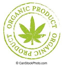 Green organic cannabis marijuana stamp