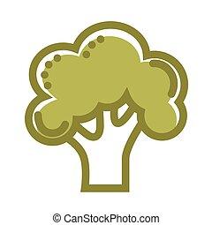 Green organic fresh broccoli isolated flat cartoon...