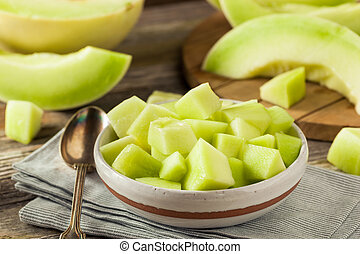 Green Organic Honeydew Melon Cut in a Bowl