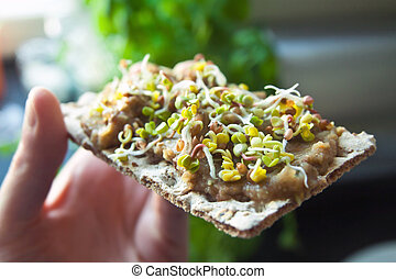 Green organic sprouts on sandwich