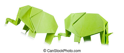 origami - Green origami elephant close up isolated on white