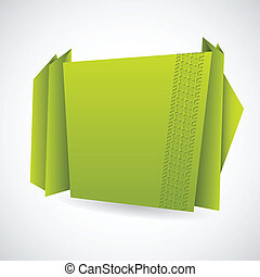 Green origami paper with tire track