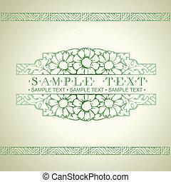 Green Ornate Art Deco Vector Quad Banner
